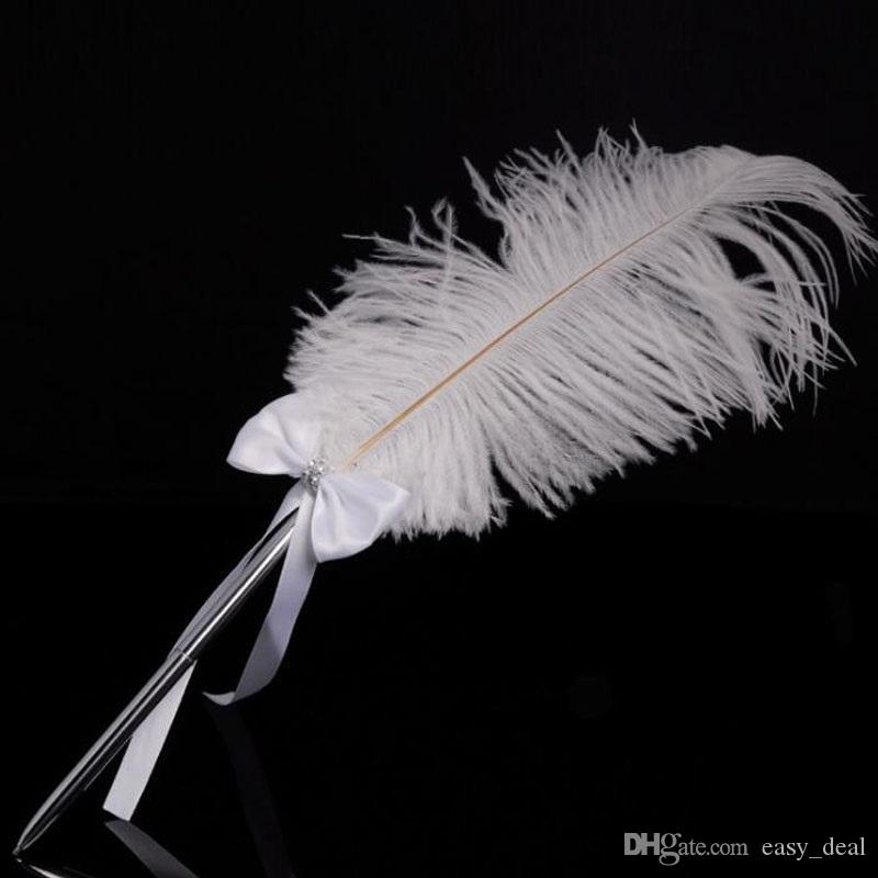 Бантом свадьба подписание ручка из нержавеющей стали Белый страусиное перо ручка с Diamante 42 см украшение партии ZA6216