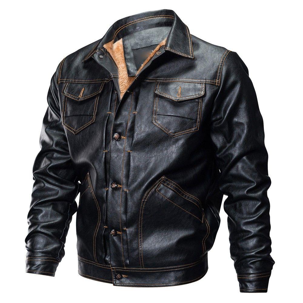 Männer leder jacken Neue ankunft Winter warme Leder jacken Mode Marke männer Fleece einfarbig Leder jacke Mantel