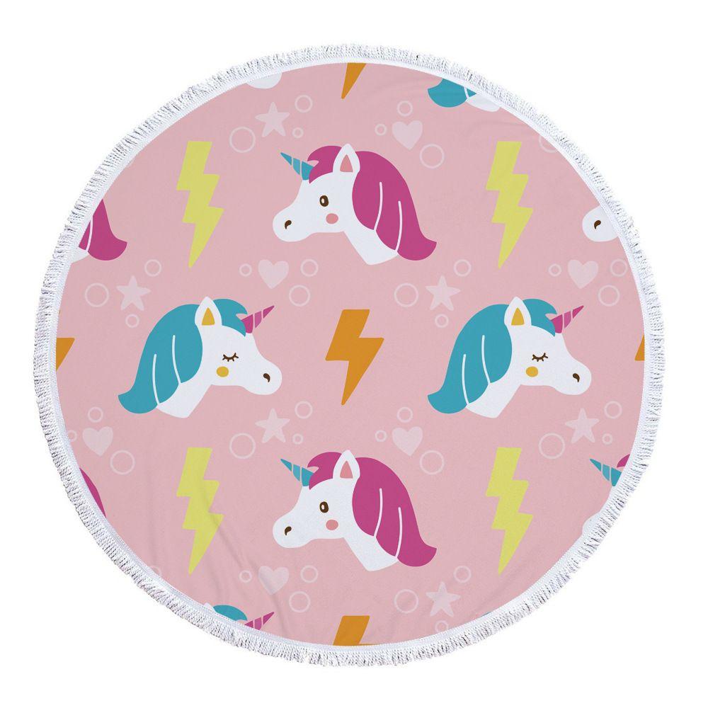 Pink Cute Unicorn Microfiber Large Round Beach Towel Toalla Microfibra Thick Terry Cloth Tassels Blanket Serviette De Plage