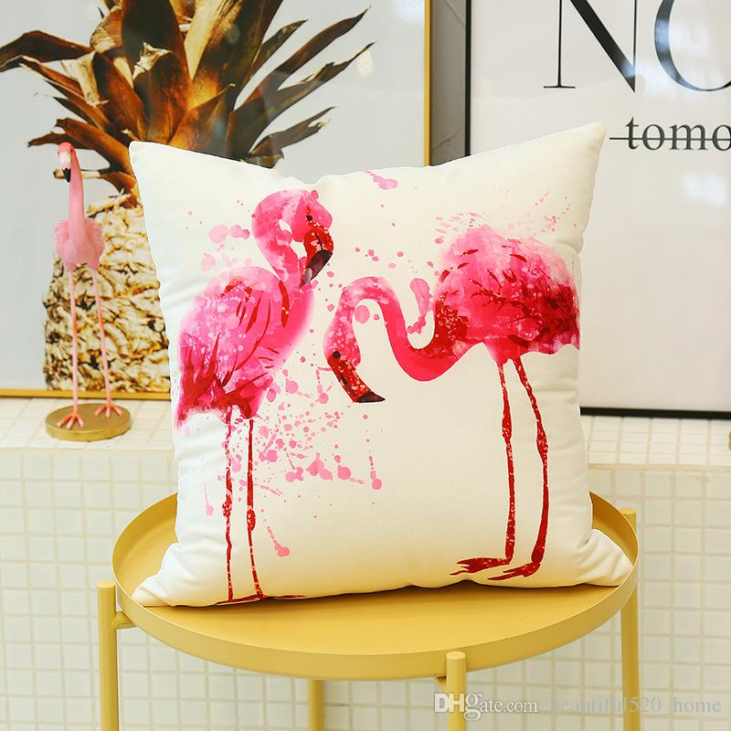 Flamingo Series Printed Pillowslip Square Indoor Outdoor Decorative Cushion Cover Office Chair Sofa Throw Pillow Cover BH18039