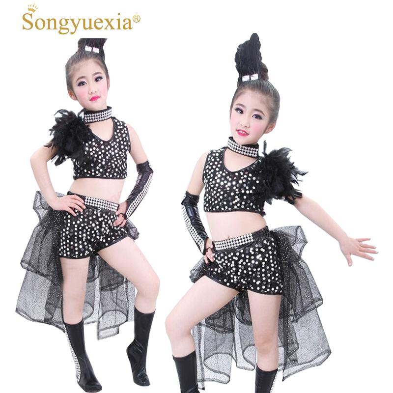 f3cc9cfd8 SONGYUEXIA New Girls Jazz Dance Dress Sequined Feather Costume for Kids  Ballroom Dress Hip-Pop Dancwwear Top+Skirt