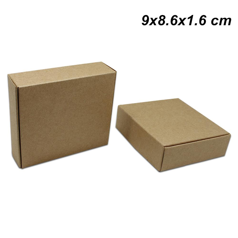 Brown 9x8.6x1.6 cm 50 PCS Kraft Paper Crafts Packaging Boxes for Jewelry DIY Candy Chocolate Party Craft Paper Gifts Accessories Storage Box