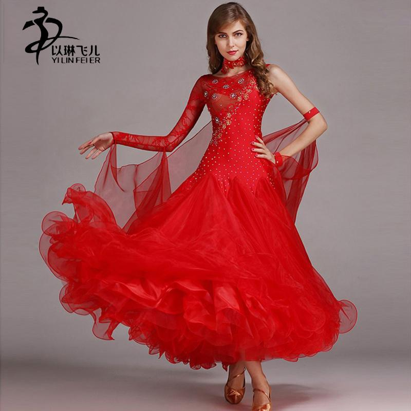 701ca87c28e 2019 Modern Dance Dress Waltz Standard Competition Rhinestone Red Dress  Standard Ballroom Dancing Clothes Competition From Yuhuicuo