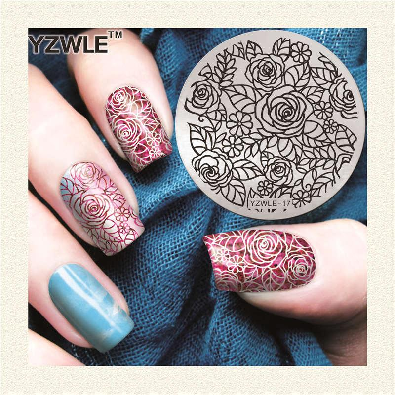 Yzwle 56cm Round Rose Flower Design Nail Stamp Plates Stainless