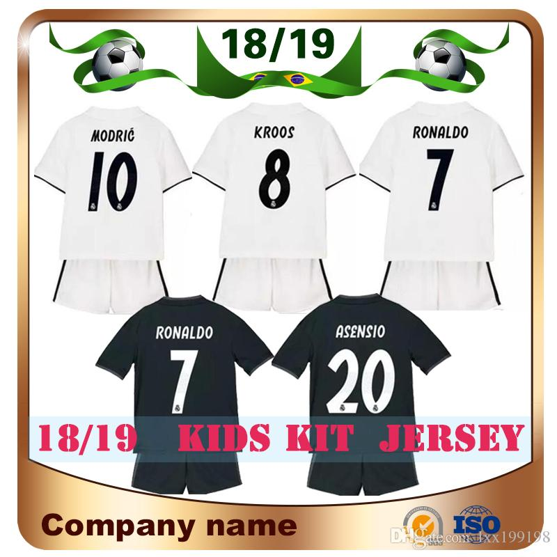 90af807f5 2019 18/19 Kids Kit Real Madrid Home White #7 RONALDO Soccer Jersey 2018  Away ASENSIO MODRIC RAMOS MARCELO BALE ISCO BENZEMA Child Football Shirt  From ...