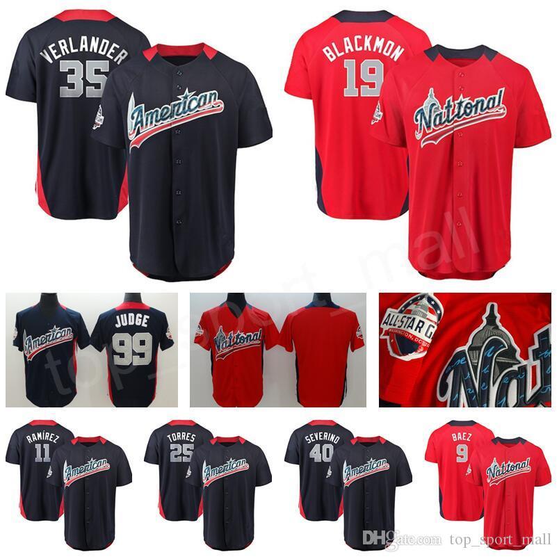 2018 Baseball All Star Jerseys 35 Justin Verlander Jose Ramirez Charlie  Blackmon Gleyber Torres Luis Severino American National League Blue UK 2019  From ... c01530862a09