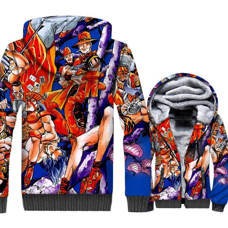 Compre Moda Japão Anime Hip Hop Marca Roupas JoJo Bizarro Aventura 3D  Impressão Hoodies 2018 Inverno Grosso Forro De Lã Casacos Casacos Homens De  Beenlo d6bde536d86