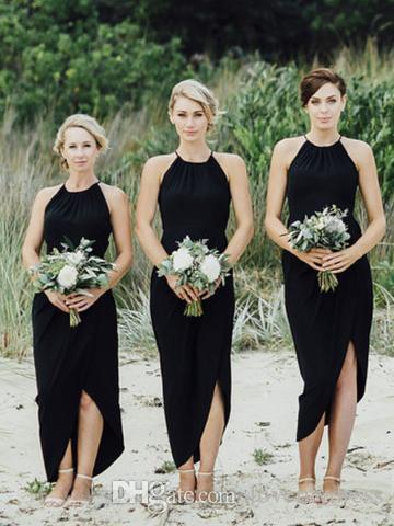 Unique Designer Black Beach Bridesmaids Dresses Halter High Low Chiffon  Ribbon Pleated Wedding Party Dress Gown Cheap Under 100 Satin Bridesmaid  Dresses ... 9165d2a3f7a8