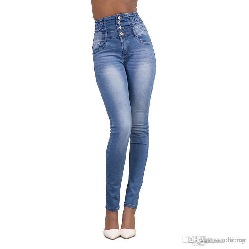 f5eac98ef80 Compre Venta Al Por Mayor Moda Para Mujer 4 Botones Jeans Sexy Cintura Alta Slim  Skinny Jeans Stretch Pencil Denim Pantalones S XXL   226375 A  28.33 Del ...