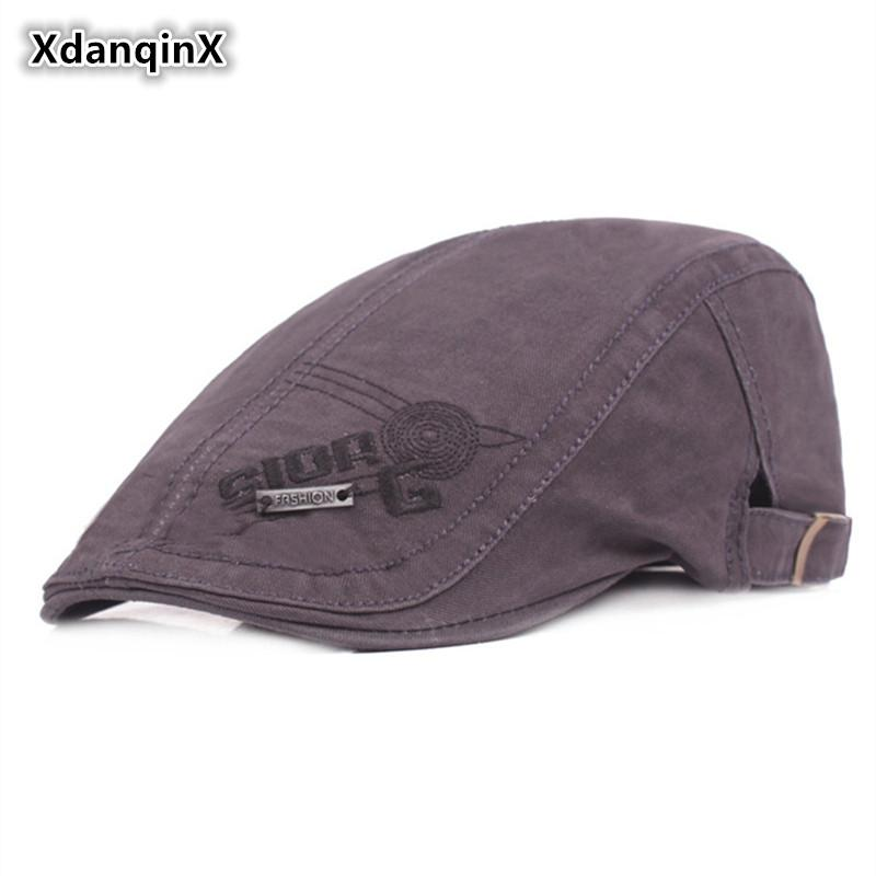 XdanqinX 100% Cotton Beret With Letter Embroidery Sombrero Simple Retro  Men s Cap Dad s Hats Adjustable Size Visor Hat For Men Berets Cheap Berets  XdanqinX ... 012384caa570