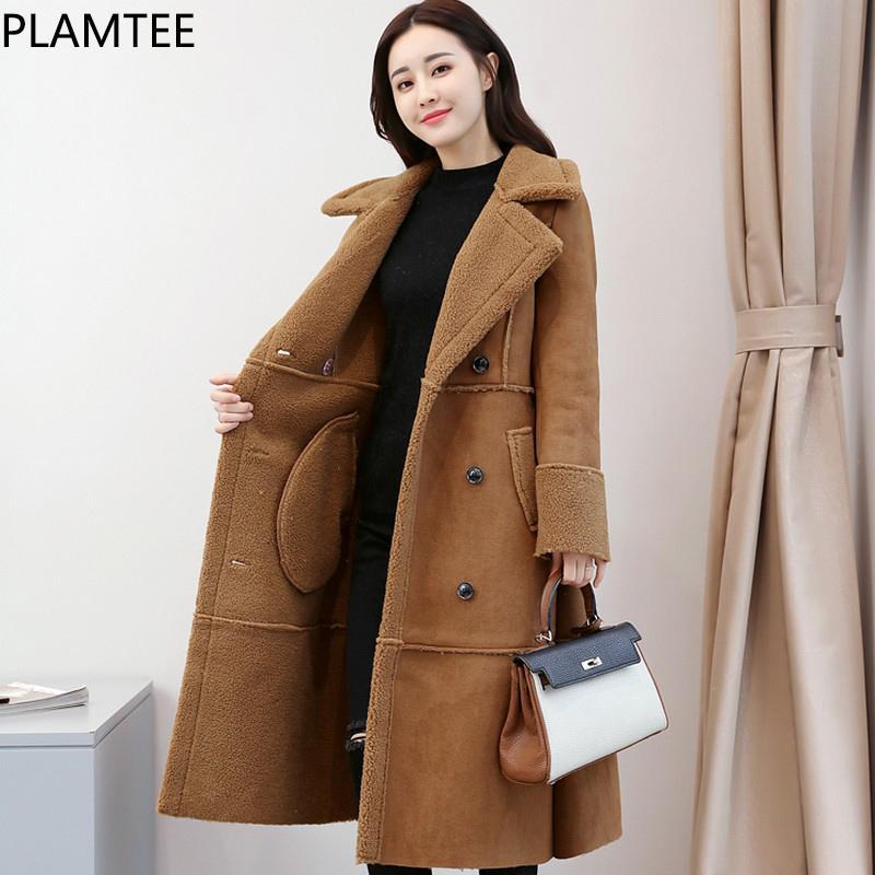 b53b6208650 PLAMTEE Women s Winter Coat Thicker Wool Double Breasted Long Female Jacket  With Pockets Elegant Women Coats Plus Size Wool Blends Woman Online with ...