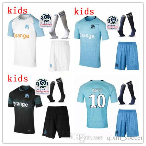 dafbb9a5ca2 Kids Kit 2018 Olympique De Marseille Soccer Jerseys with Socks 18 19 ...