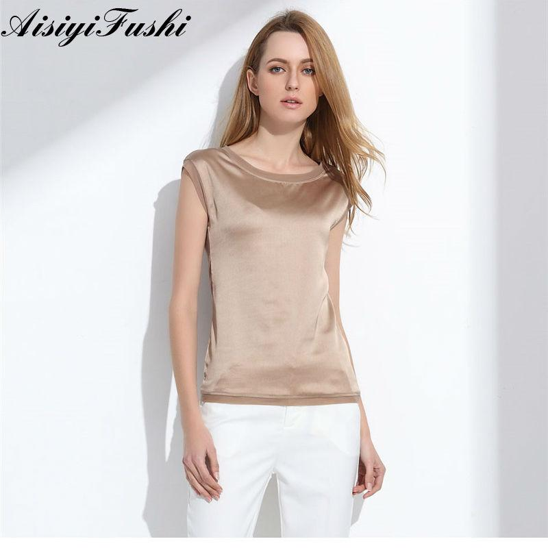 88b7fcbe8a476d Women's Blouse 2018 Summer Shirts Casual OL Silk Women Blouse Shirt Sexy White  Red Tops Party Girls Loose Sleeveless Work Wear