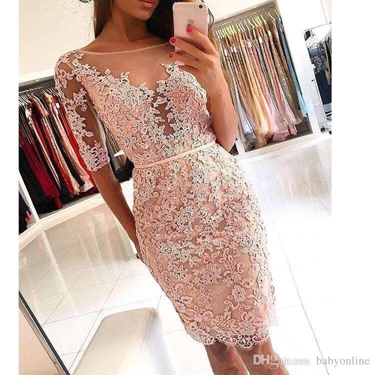 80bb83c5a774 Sexy Short Sheath Sexy Formal Cocktail Prom Dress Off The Shoulder Blush Pink  Lace Applique Homecoming Dress BA9826 Winter Cocktail Dress 50s Cocktail  Dress ...