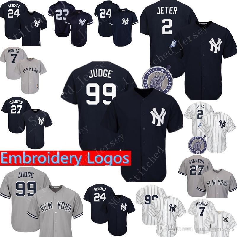 a97da9ae3 Men New York Yankees Jersey #99 Aaron Judge 2 #27 Giancarlo Stanton ...