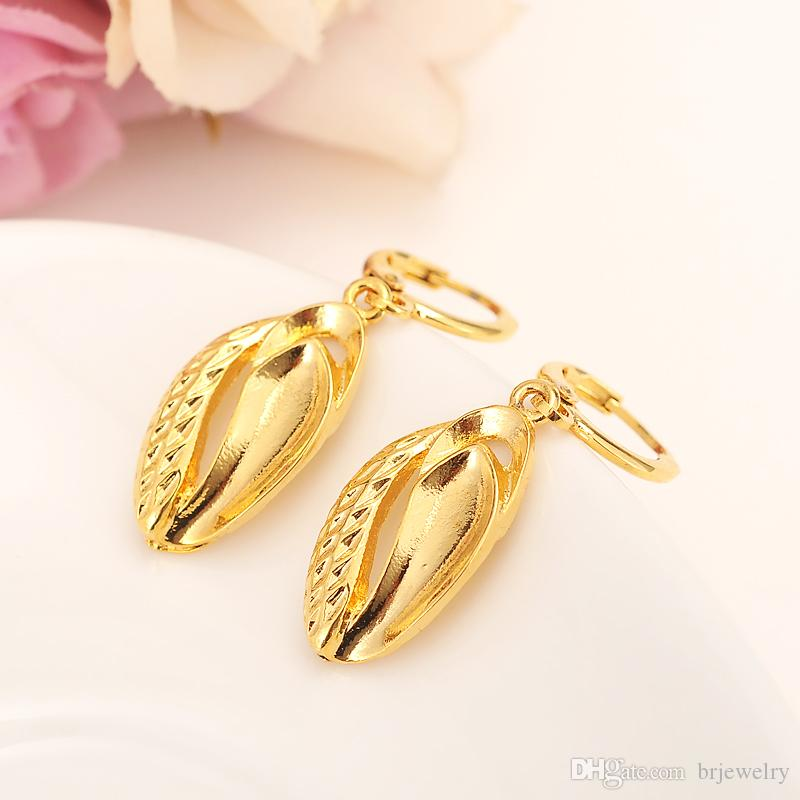 a1e4980e8b9 2019 Bangrui Beads Heart Earrings For Women Girls Gold Color Leaf Earing  Jewelry Gifts African