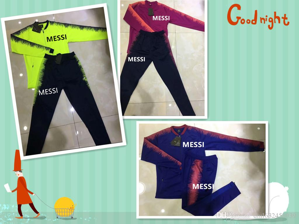 2c0551f50d9 2019 2018 19 MESSI Football CHANDAL Jacket Tracksuit 17 18 19 MESSI Maillot  De Foot INIESTA SUAREZ FULL ZIPPER Jacket Training Suit From Dml632450039