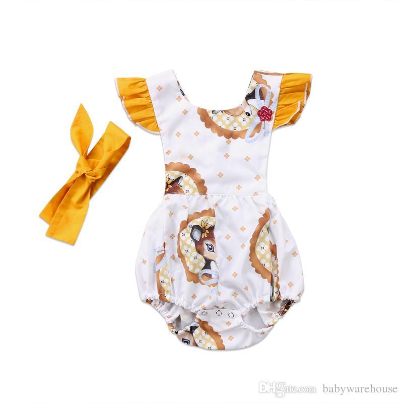 7396664bf 2018 New Baby Clothing Cute Baby Girl Romper Ruffled Fly Sleeve Deer ...