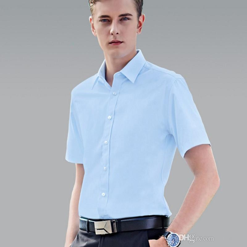 9feb7c93891 2019 2018 New Summer Men S Business Formal Suit Short Sleeve Shirt Turn  Down Collar Single Breasted Solid Top 37 44 Sizes For Office Man From  Yliang36