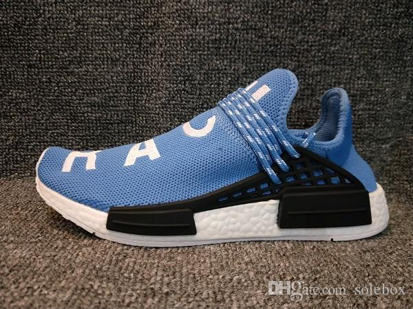 CALIENTE Pharrell Williams Hu TR Zapatos X Raza Humana Zapatos Corrientes Hombres Deportes Mujeres Entrenamiento al aire libre Zapatilla de deporte 36-47