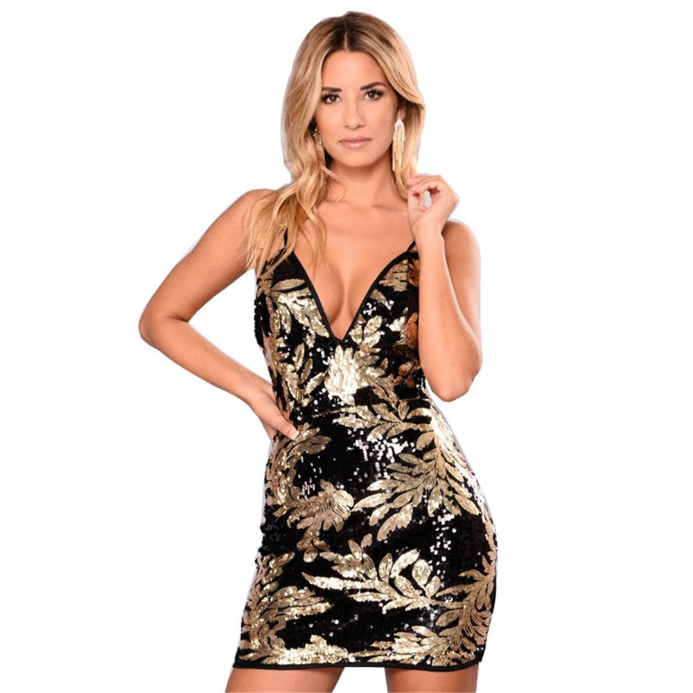 ddaf408acc24 2019 Sexy Sequin Strap V Neck Winter Party Dresses Women Backless Zipper  Club Dress Christmas 2018 Mini Dress Vestidos From Wuyasi, $23.16 |  DHgate.Com