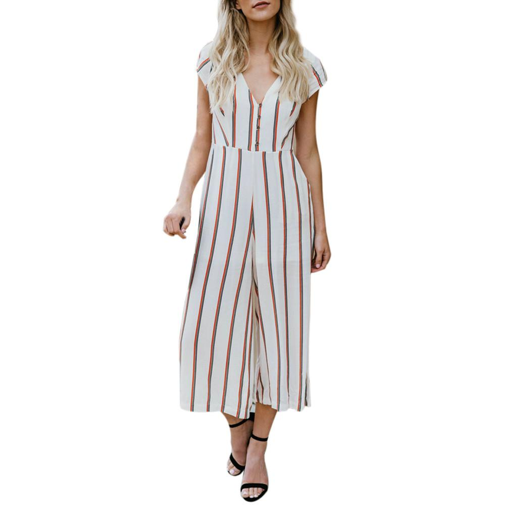 ca88fa32b40 2019 Sexy Women Striped Summer Jumpsuit Sleeveless Strappy High Waist  Ladies Clubwear Deep V Neck Playsuit Bodycon Party Outfit From Beenling