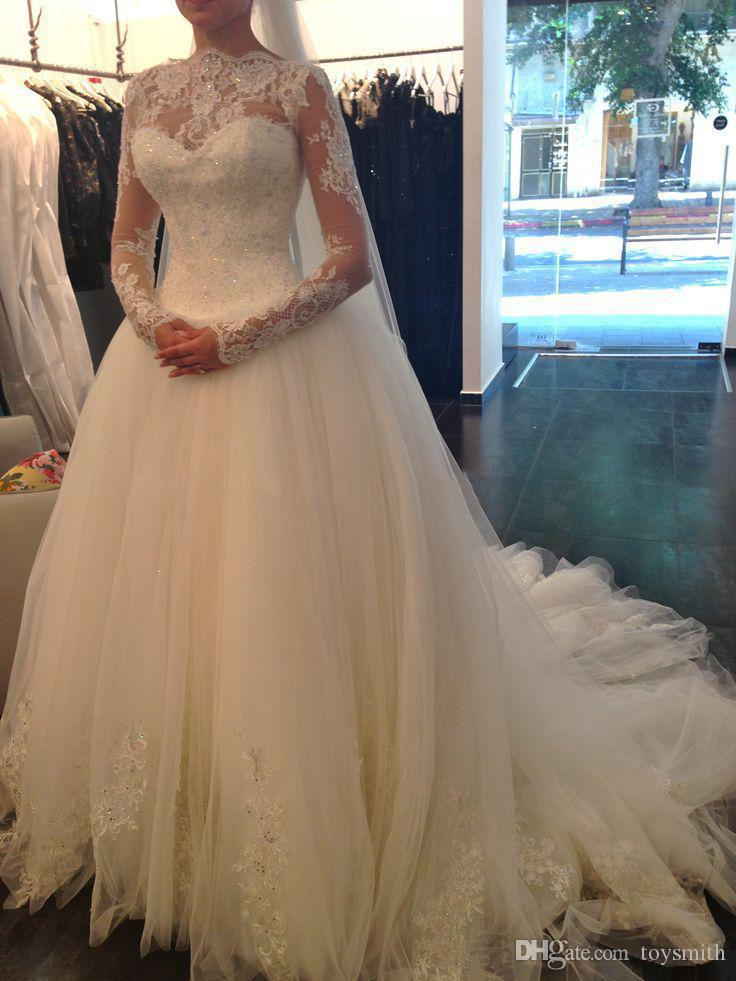 2018 Vintage Tulle Jewel Lace Applique Bridal Gown Sequins Long Sleeve White Full Length Exquisite Ball Gown Wedding Dress