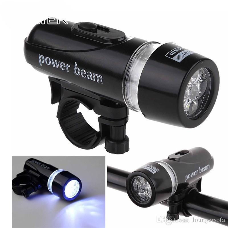 Power Beam Bicycle Lamp Torch 5LED Lights Accessori Mountain Bike Testa frontale portatile Light Equipment Torcia in plastica nera 4sm WW
