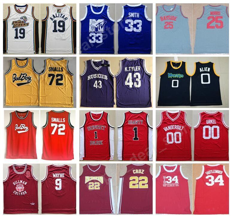 f2fa6fe7b 2019 72 Biggie Smalls Movie Basketball Jerseys 25 Zack Morris 9 Dwayne  Wayne 43 Kenny Tyler 45 Donald Trump 0 Alien 1 Shawty 22 Timo Cruz Smith  From ...
