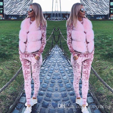 Women Two Piece Set Female Winter Tracksuit Velvet Hoodies Top + Pants Ladies Long Sleeve Outfit Femme Sporting Suits