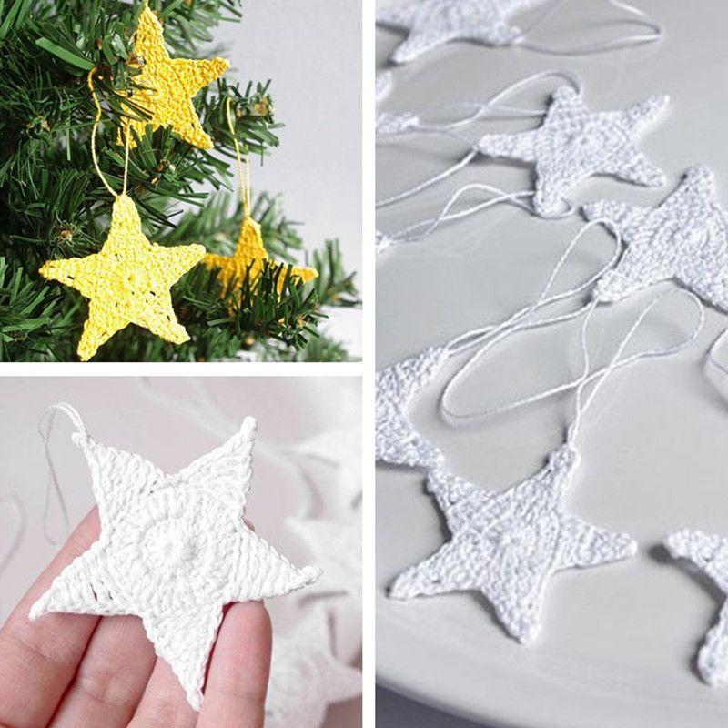 White Christmas Ornament Decorations Stars Set of 12 Cotton Crochet ...