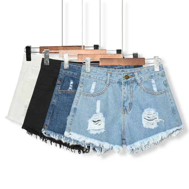 Compre 4 Cores Mulheres Verão Shorts Jeans Denim Cintura Alta Curto ... 5db932e8047c7