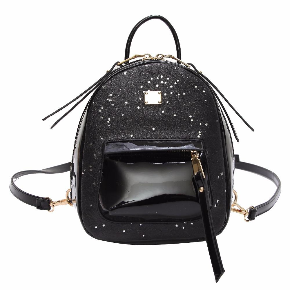 033402abb942 Women Patent Leather Mini Backpack Holographic Sequin Fashion Black Small  Bagpack School Backpacks Bag For Teenagers Girls Laptop Rucksack Backpacks  For ...