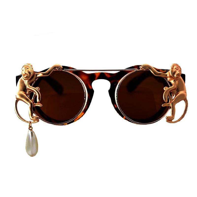 27de42ffb07c New Fashion Sunglasses Metal Monkey Pearl Chain Decoration Frame Luxury  Brand Designer Women Mirror Sun Glasses Men Sunglases Cheap Designer  Sunglasses From ...