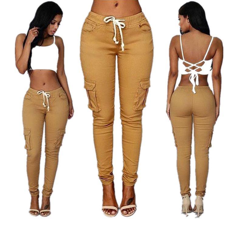 Elastic Waist Pants Skinny Fashion Women Pockets Pants Girl Ladies Sexy Clothes Leggings Trousers Skinny Pencil Jeans Slim Leggings Pants