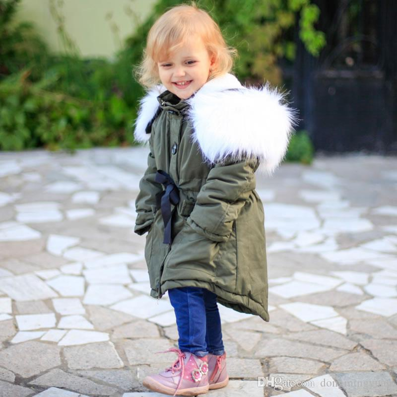 b9024f9cfc8 Winter Faux Fur Coat For Kid Clothes Korean Baby Girl Warm Bow Belt Jacket  Outwear Children Hooded Boutique Overcoat Costume Cheap Boys Winter Jackets  ...