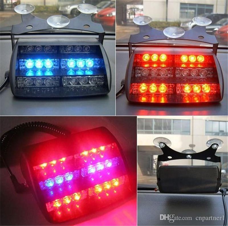 2018 LED Uyarı Işıkları 18 LED Strobe Işıkları Vantuz Işık İtfaiyeci Yanıp Sönen LED Işık Acil Güvenlik Araba Kamyon Işık Sinyal Lambası