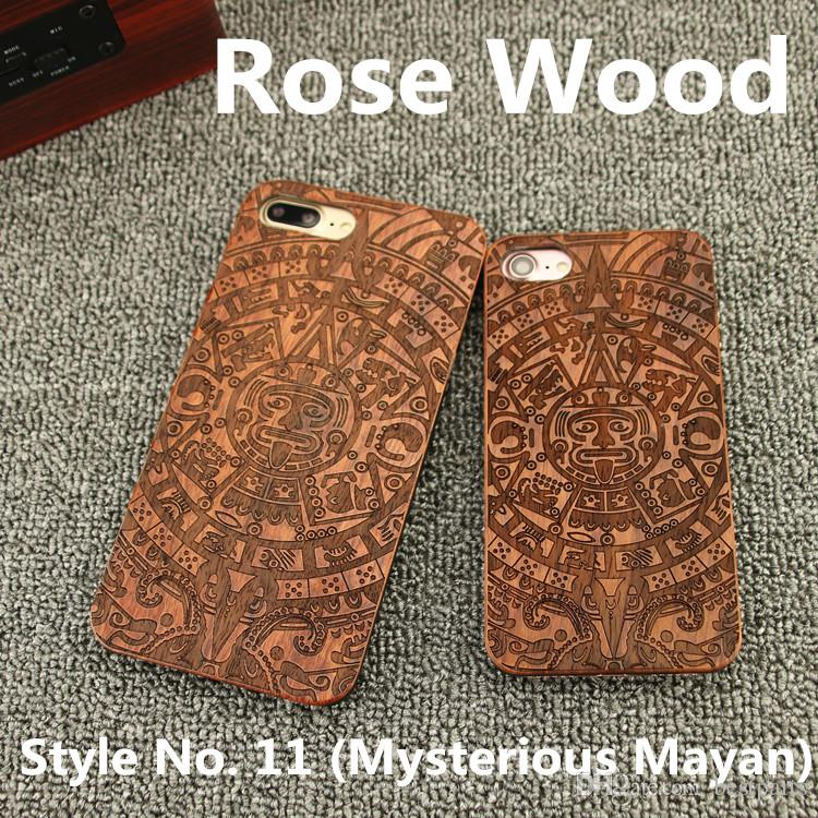 Style No. 11 Mysterious Mayan Real Genuine Natural Wood Wooden Bamboo Rear Back Cover Cases for iPhone X 8 7 6S 6 Plus 5 5S SE Inside