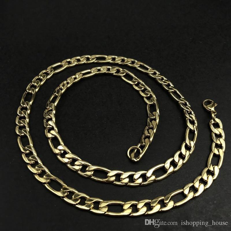 1a51ec0ea932 Compre Htosale Mens Figaro Cadenas 8 Mm 60 Cm 24inch Acero Inoxidable  Chapado En Oro Amarillo 3  1 Figaro Cadenas Collar Para Hombres Mujeres NL  498 A  5.03 ...
