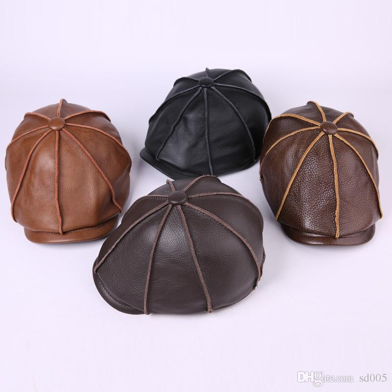 6a8b1e546f5d9 2019 Lady Popular Hat Leather Black Autumn Winter Designer Brand Luxury Fashion  Berets Sunscreen Garden Beach Outdoor Warm Men Hats 68yg Hh From Sd005