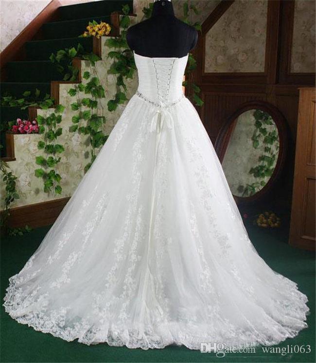 خمر الدانتيل ألف خط فساتين الزفاف الحبيب مطرز كريستال الحزام زائد حجم أثواب الزفاف مشد