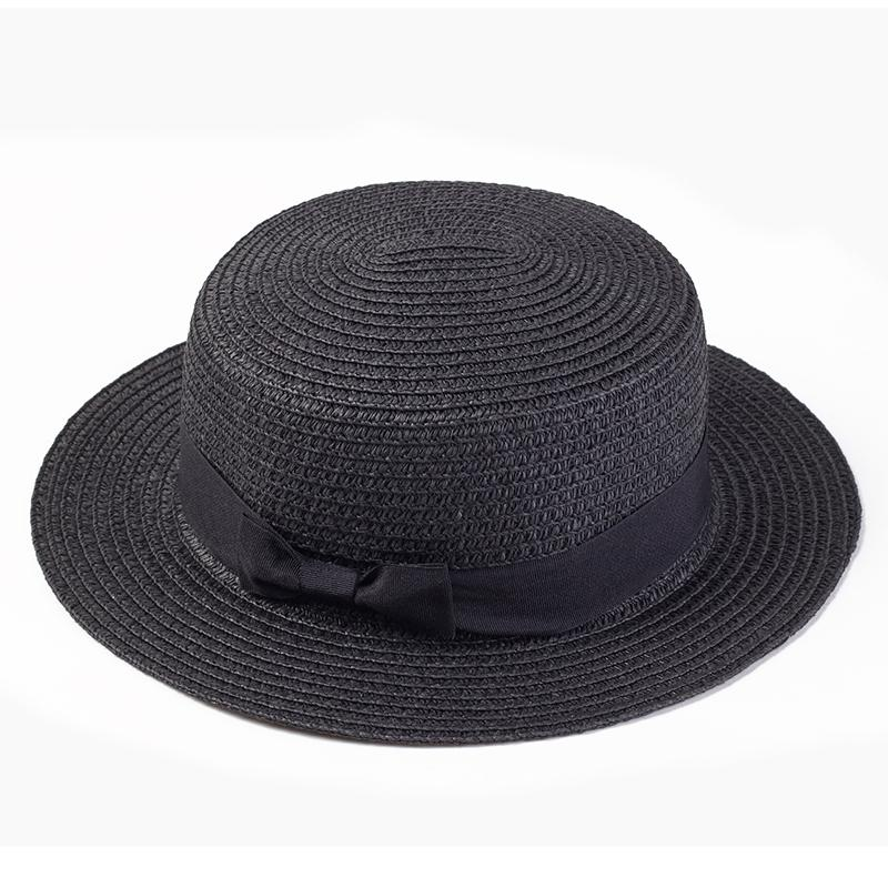 Lady Boater Sun Caps Ribbon Round Flat Top Straw Beach Hat Panama Hat  Summer Hats For Women Straw Snapback Gorras Wholesale Boater Hat Fascinator  Hats From ... 770f3a4883d3