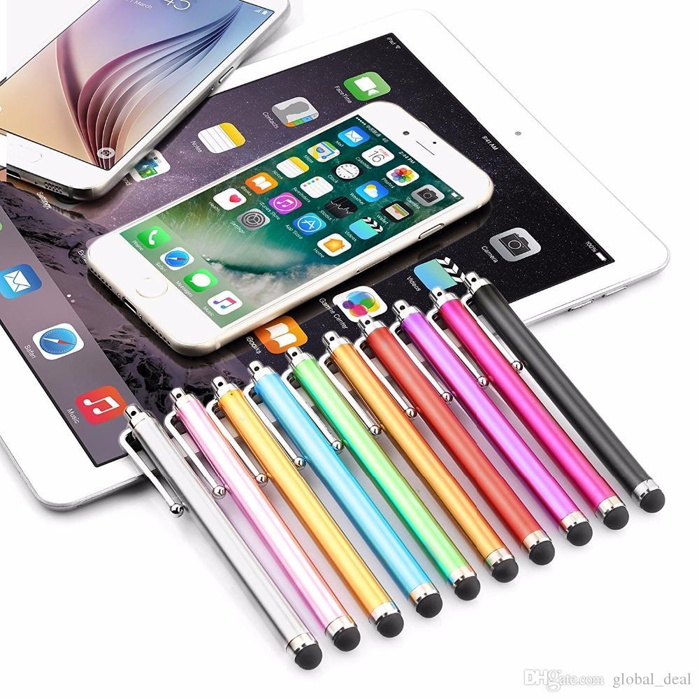 Alta Qualidade Longa Tela Capacitiva Metal Stylus Caneta de Toque Com Clip Para Iphone / IPad / Mini IPad / iPod Touch