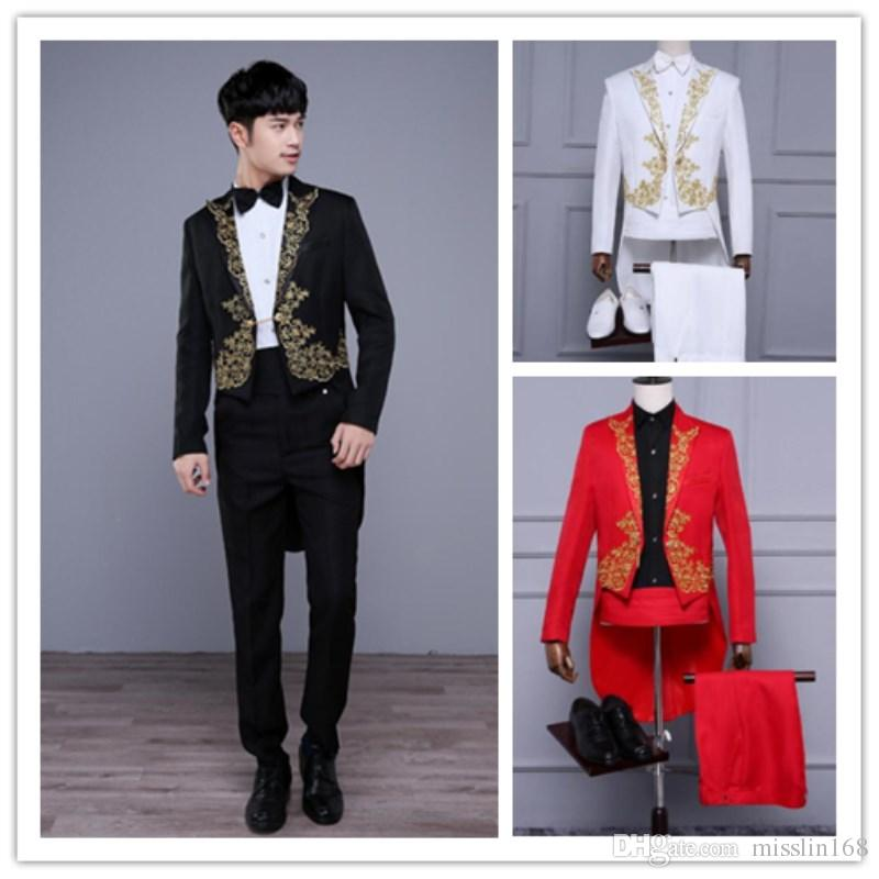 (jacket pants) 2017 new male suit embroidery tuxedo tailcoat jacket blazer  set singer team costumes Magician host club prom show stage wear