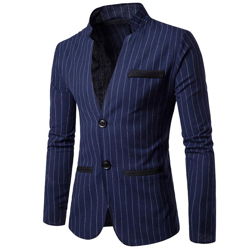 NIBESSER Stand Collar Blazer Men Fashion Striped Suit Blazer Single Breasted Slim Business Blazer Male Casual Suit Jacket Suit