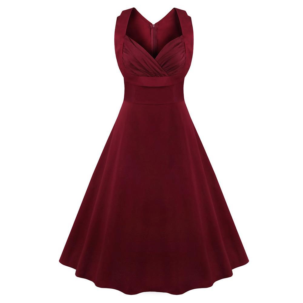 330bbbae6adb0 Kenancy Women Plus Size S~4XL Cotton Stretchy Vintage Dress Sleeveless  Retro Rockabilly Audrey Hepburn Big Hem Feminino Vestidos Vestidos Plus  Vintage Dress ...