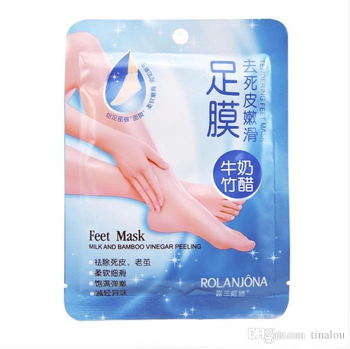 Soins des pieds Rolanjona Lait Vinaigre de Bambou Pieds Masque Peeling Gommage Exfoliant Peau morte Remove Professional Feet SOX Mask Soins des pieds