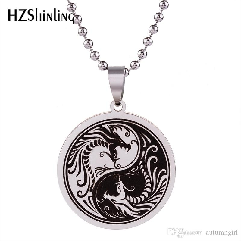 New Yinyang Dragon Pendant Necklace No Fade Stainless Steel Jewelry Yin Yang Pendants Gifts Friends Silver Ball Chain