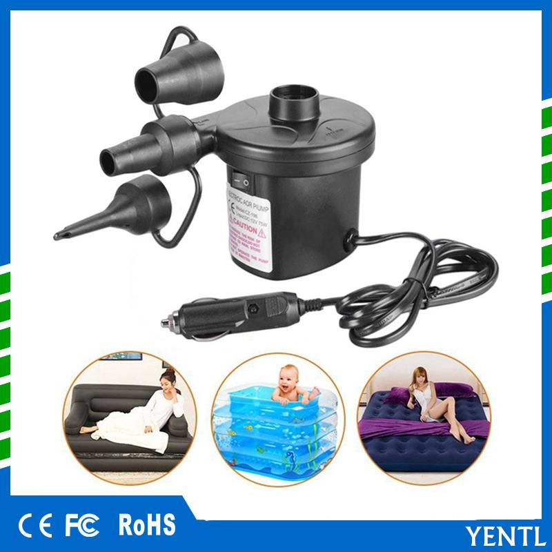 free shipping yentl Portable DC12V Car Inflatable Pump Car Auto Electric Air Pump Inflator Electric for Camping bed mattress Boat Inflator