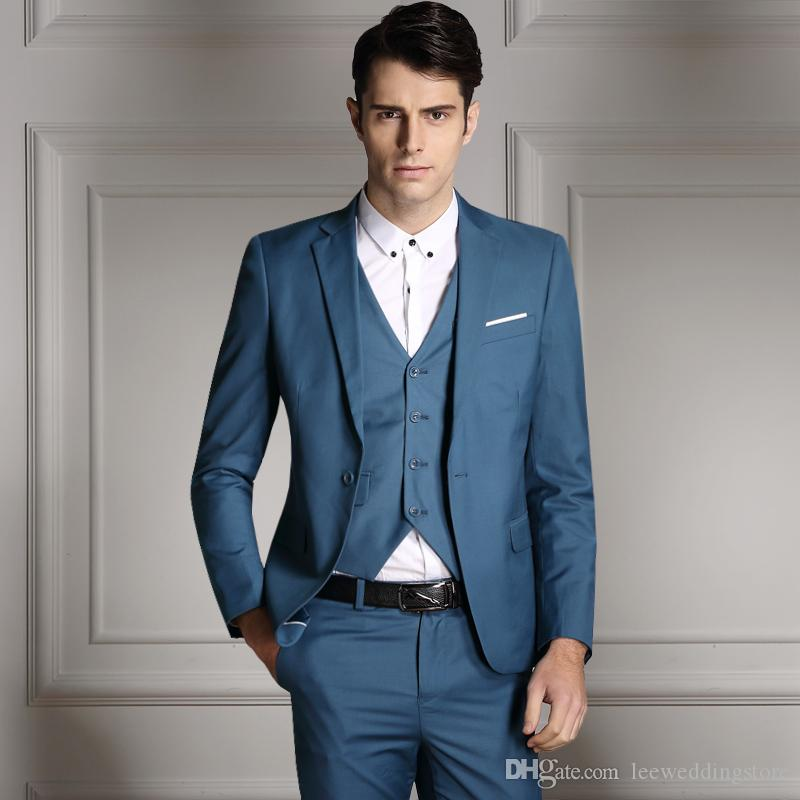 Blue Men Suit Slim Fit Business Suits Formal Blazer Wedding Suits ...